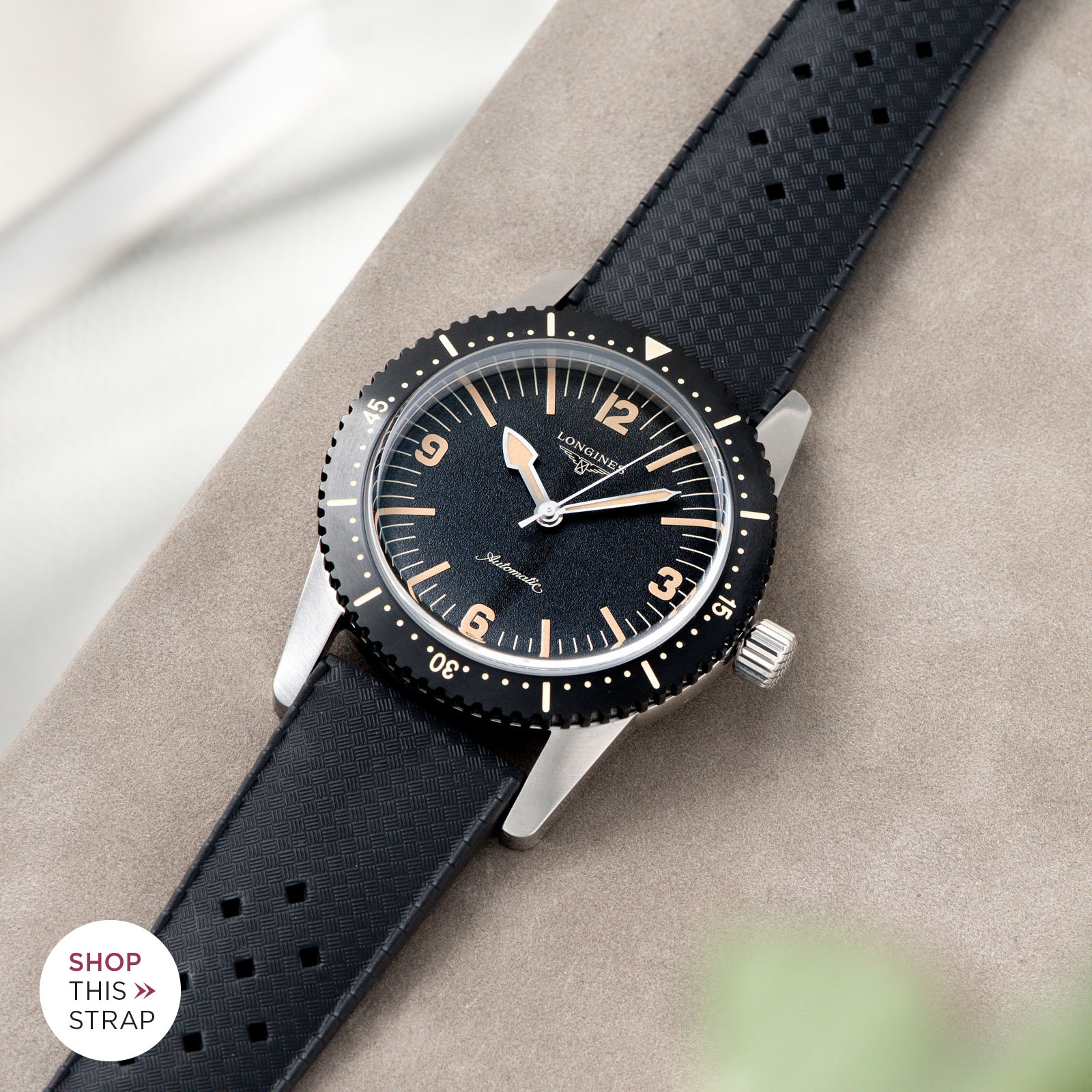 Bulang and Sons_Strap Guide_Longines Skin Diver_autic Basket Weave Black Rubber Watch Strap