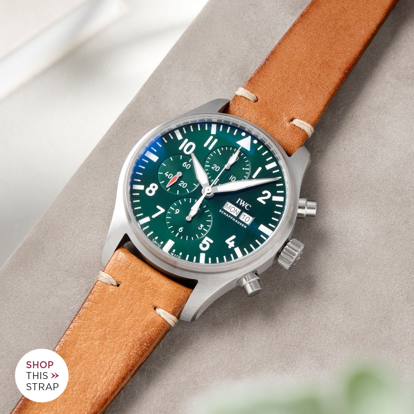 Bulang and Sons_Strapguide_IWC Pilots Watch Chronograph Spitfire_Caramel Brown Leather Watch Strap
