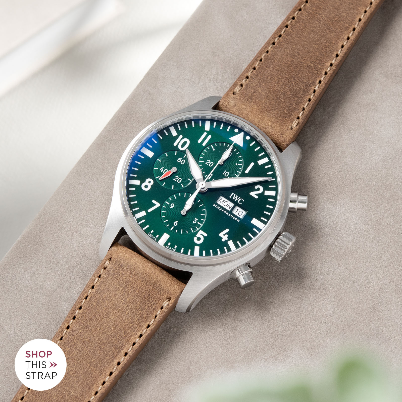 Bulang and Sons_Strapguide_IWC Pilots Watch Chronograph Spitfire_Cinnamon Brown Leather Watch Strap