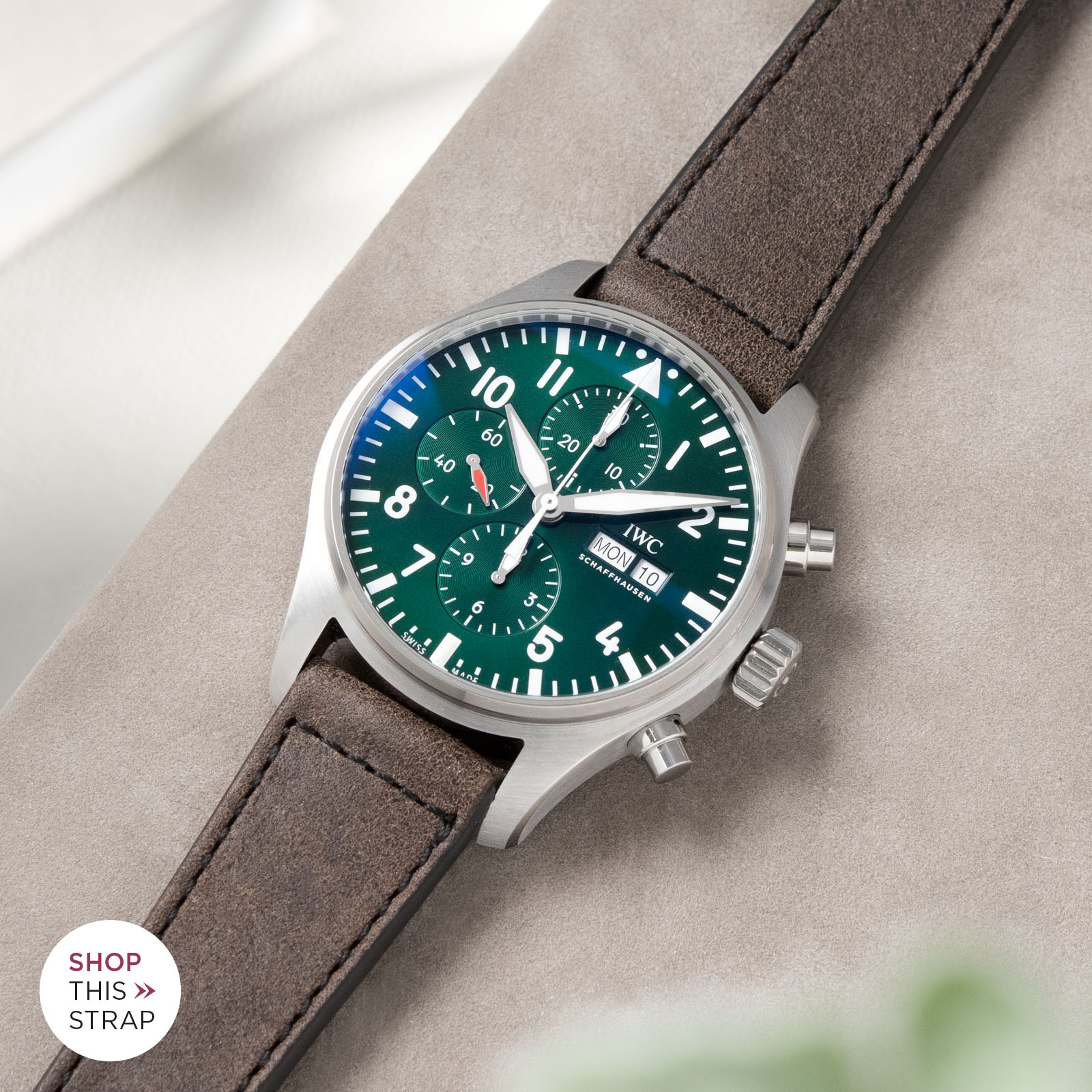 Bulang and Sons_Strapguide_IWC Pilots Watch Chronograph Spitfire_Ravello Brown Leather Watch Strap