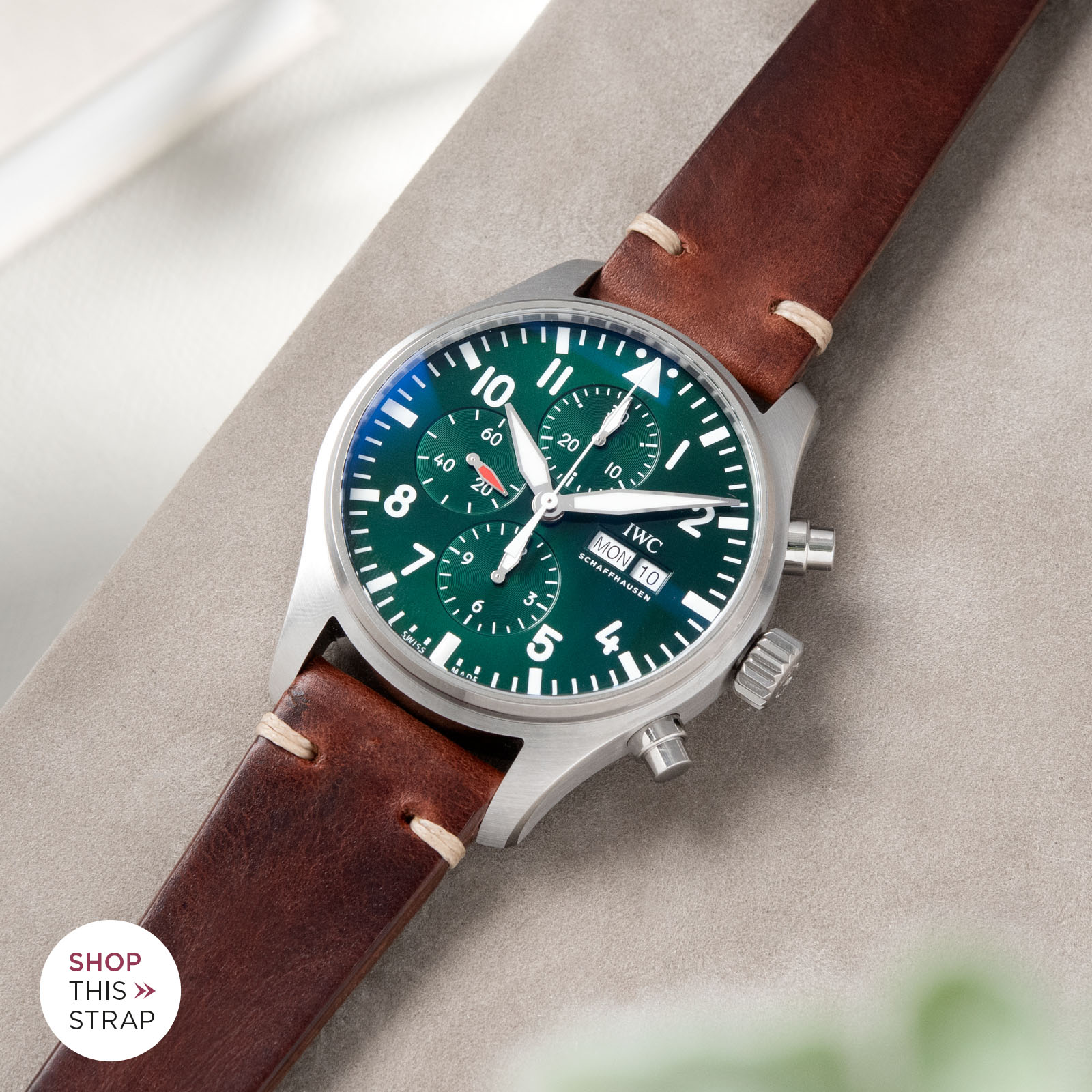 Bulang and Sons_Strapguide_IWC Pilots Watch Chronograph Spitfire_Siena Brown Leather Watch Strap