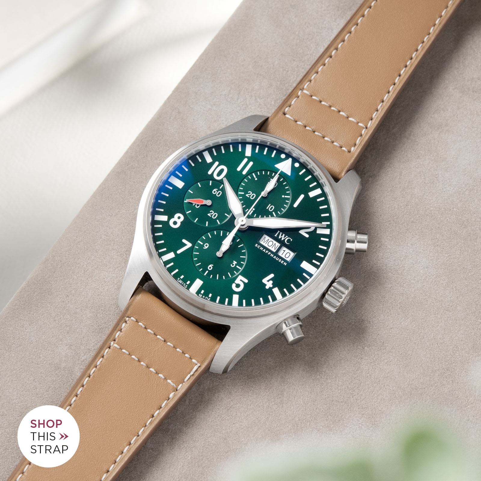 Bulang and Sons_Strapguide_IWC Pilots Watch Chronograph Spitfire_Taupe Brown Retro Leather Watch Strap