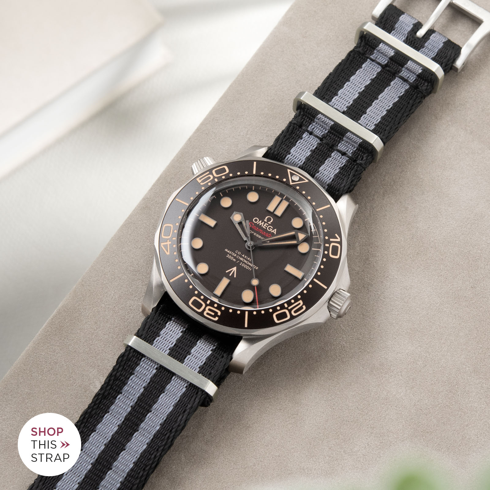Bulang and Sons_Strapguide_Omega Seamaster_DELUXE NYLON NATO WATCH STRAP BLACK TWO STRIPES GREY_001