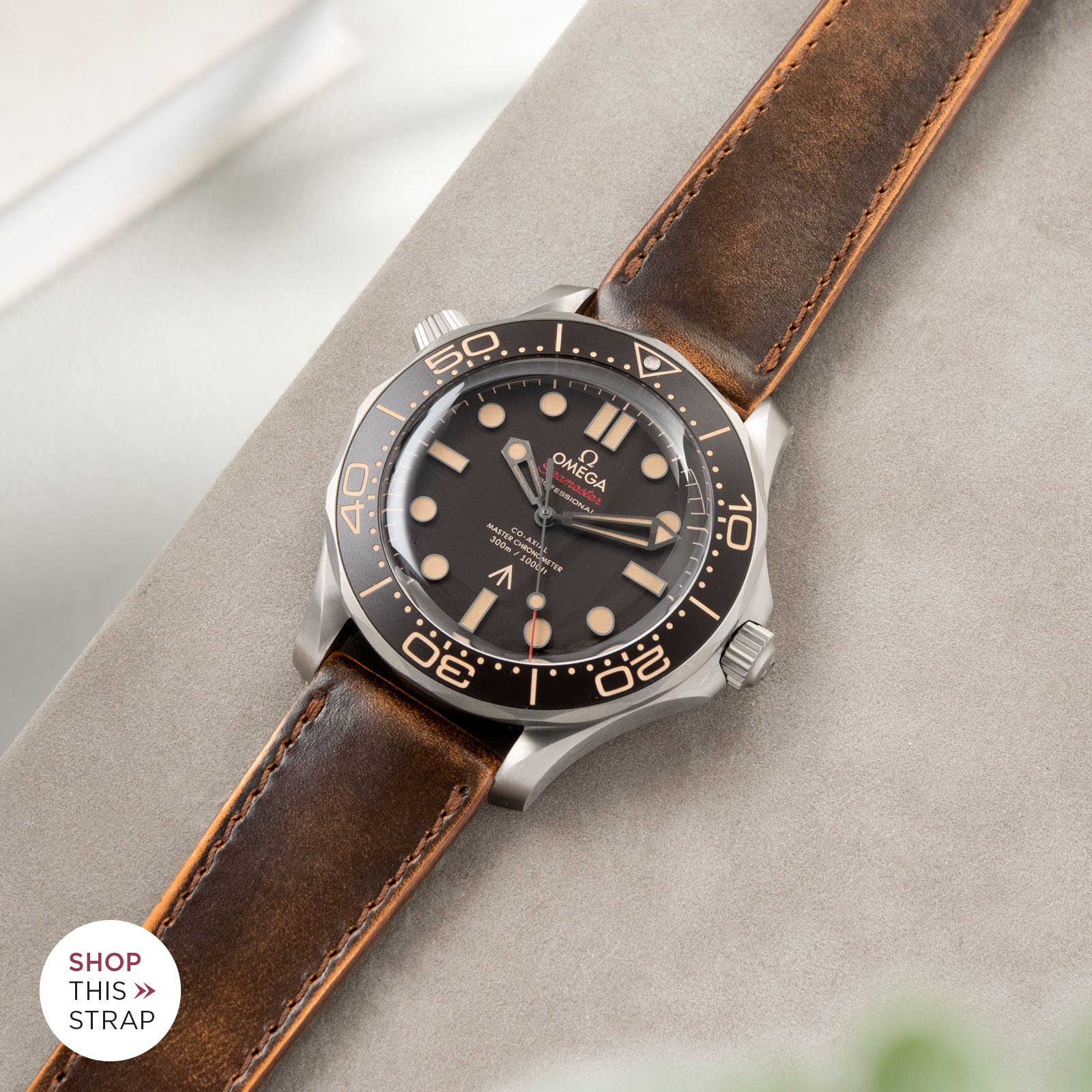 Bulang and Sons_Strapguide_Omega Seamaster_DEgrade Honey Brown Leather Watch Strap