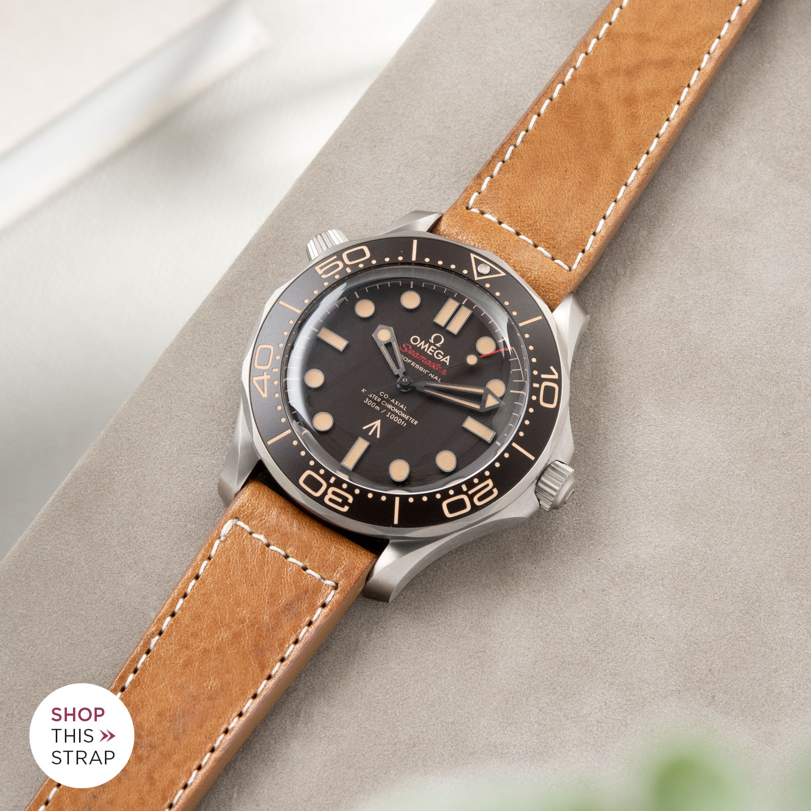 Bulang and Sons_Strapguide_Omega Seamaster_GILT BROWN LEATHER WATCH STRAP_004