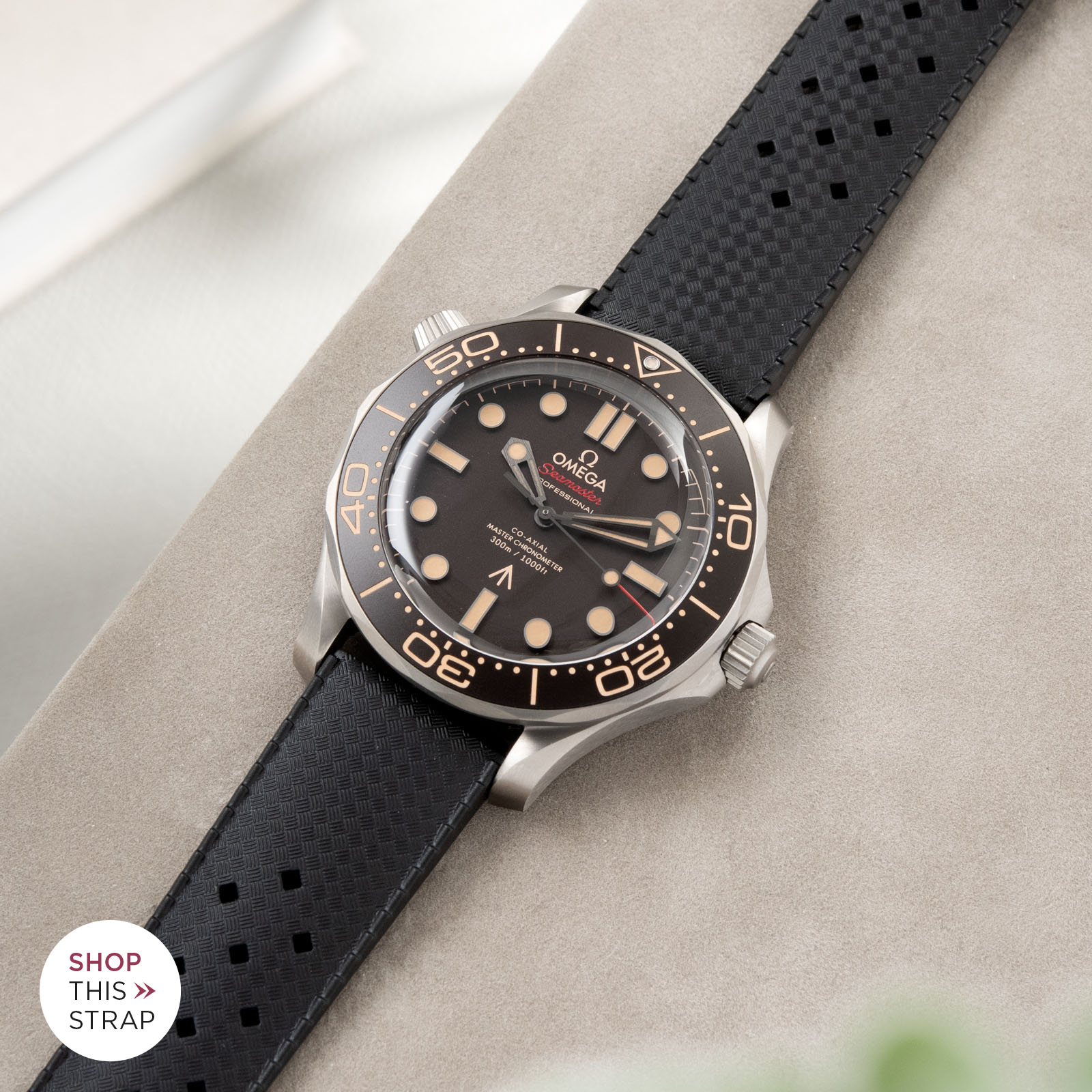 Bulang and Sons_Strapguide_Omega Seamaster_Nautic Basket Weave Black Rubber Watch Strap