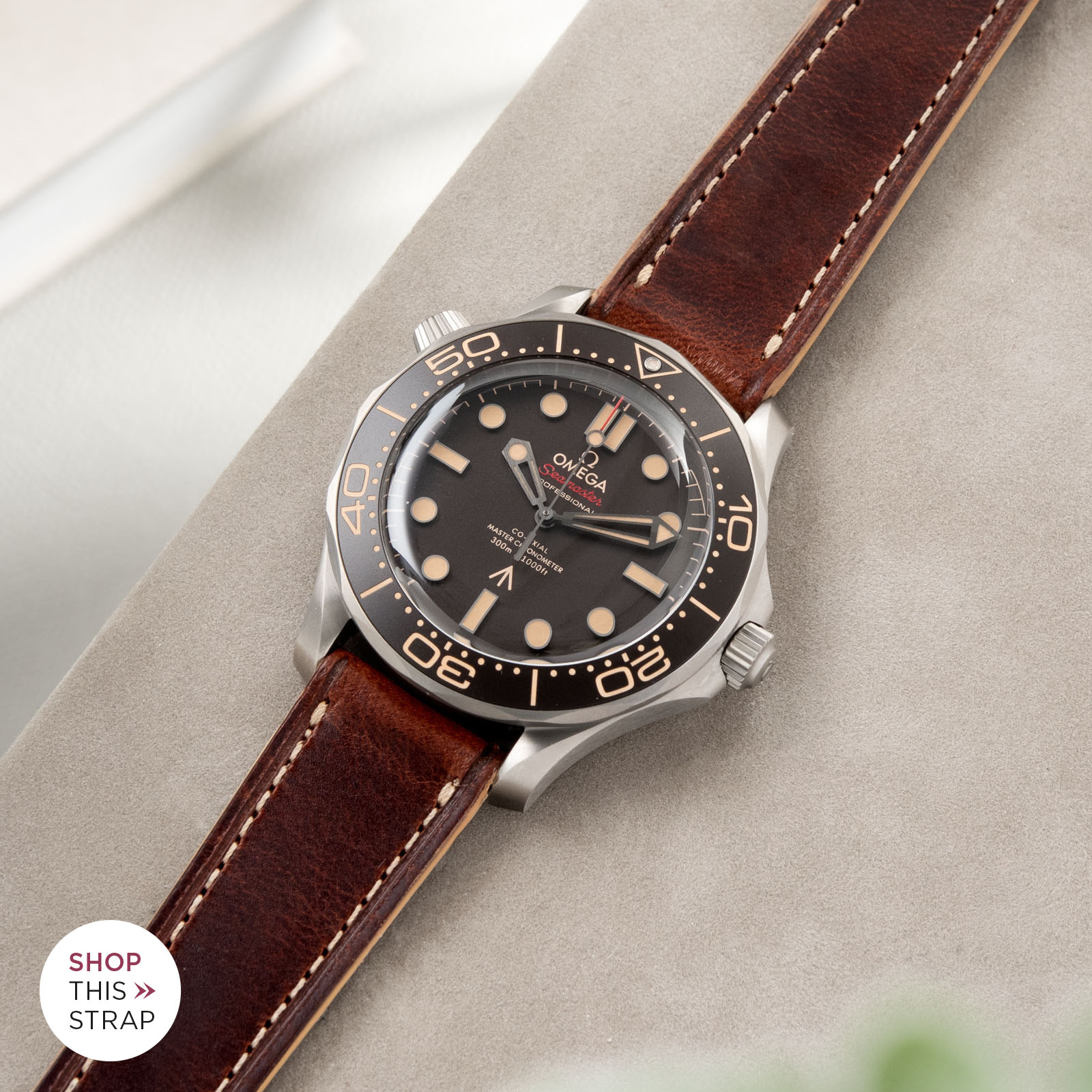 Bulang and Sons_Strapguide_Omega Seamaster_Siena Brown Retro Leather Watch Strap