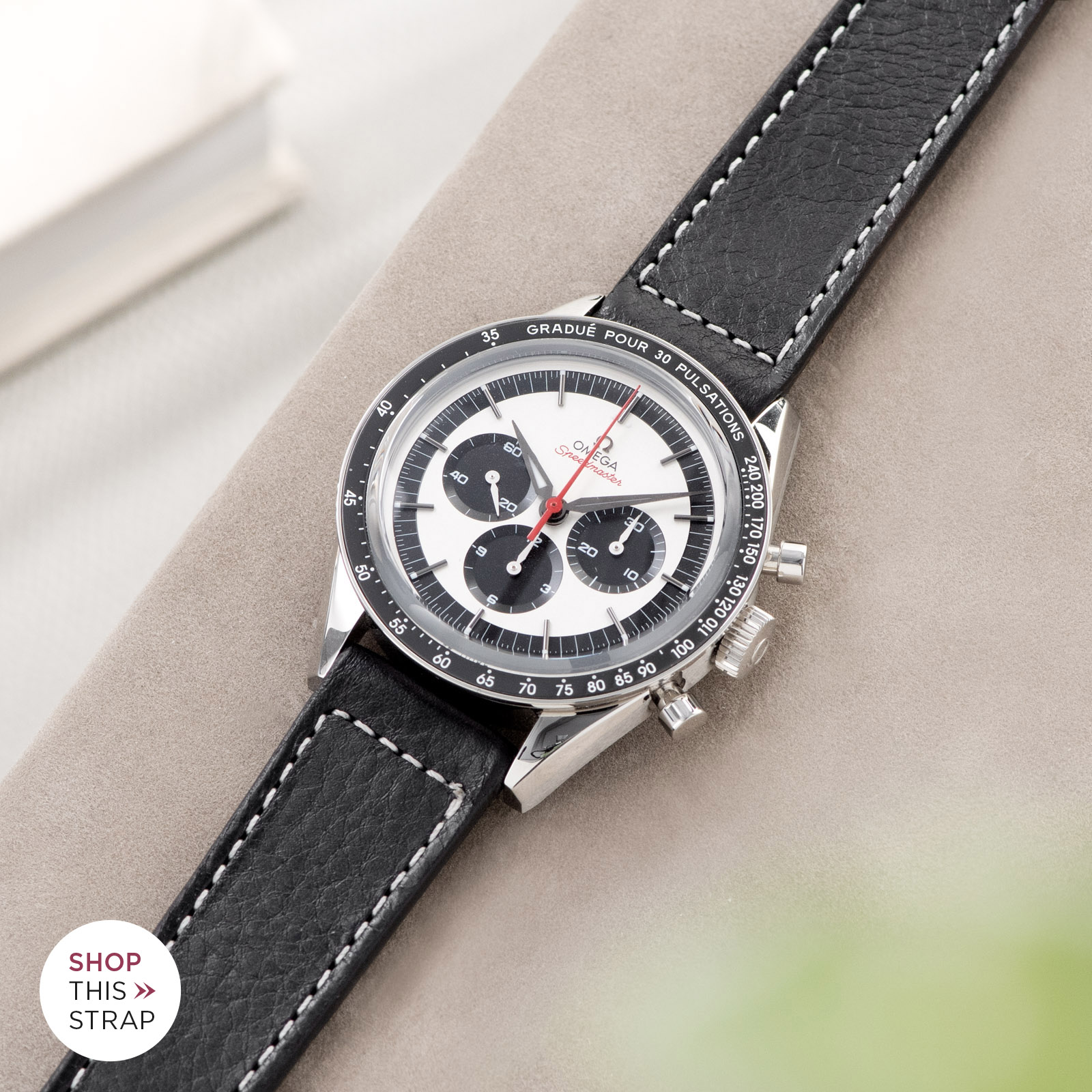 Bulang and Sons_Strap Guide_Omega Speedmaster 2998_Black Boxed Stitch Leather Watch Strap