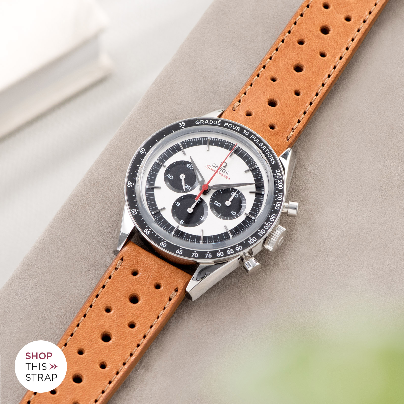 Bulang and Sons_Strap Guide_Omega Speedmaster 2998_Racing Caramel Brown Leather Watch Strap