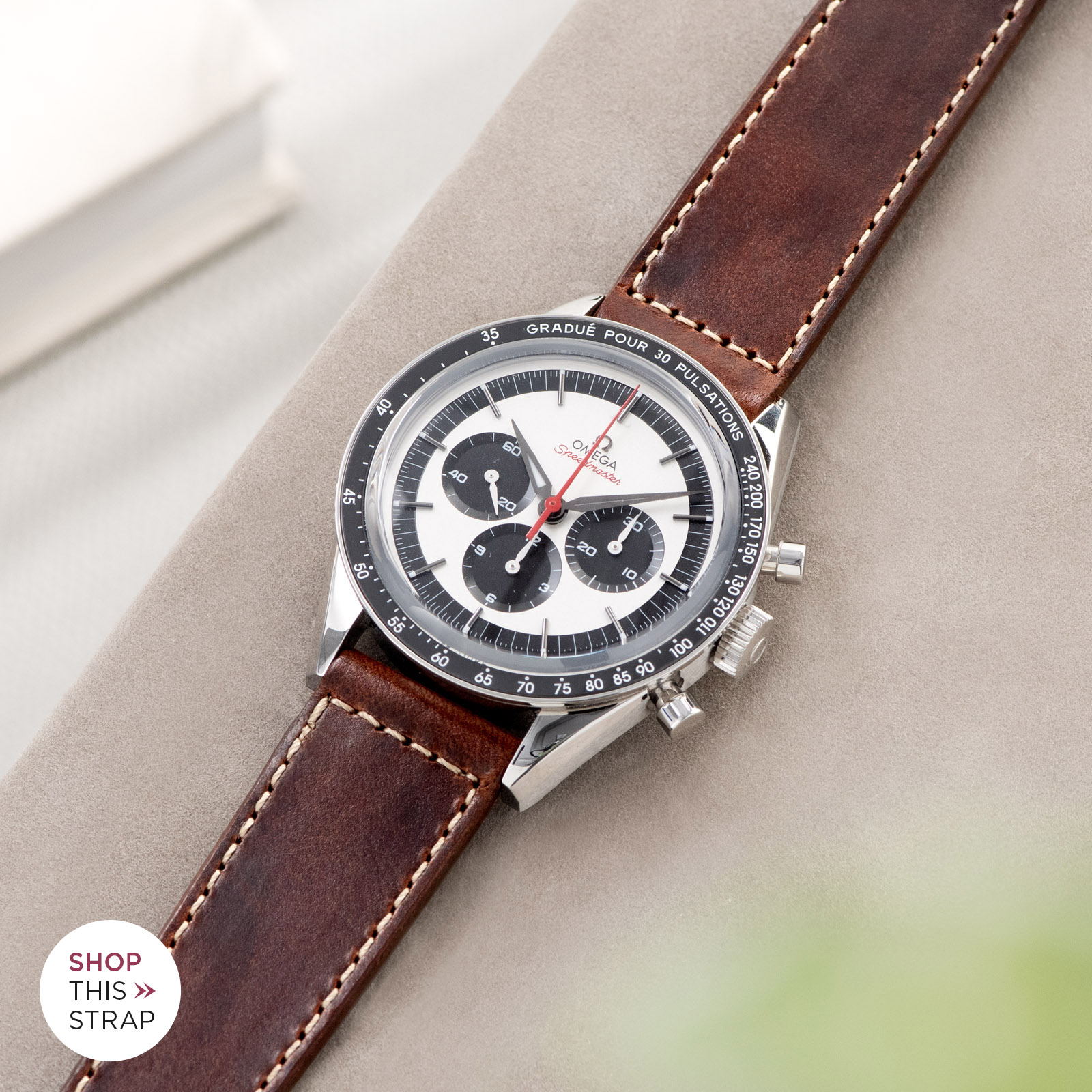 Bulang and Sons_Strap Guide_Omega Speedmaster 2998_Siena Brown Boxed Stitch Leather Watch Strap