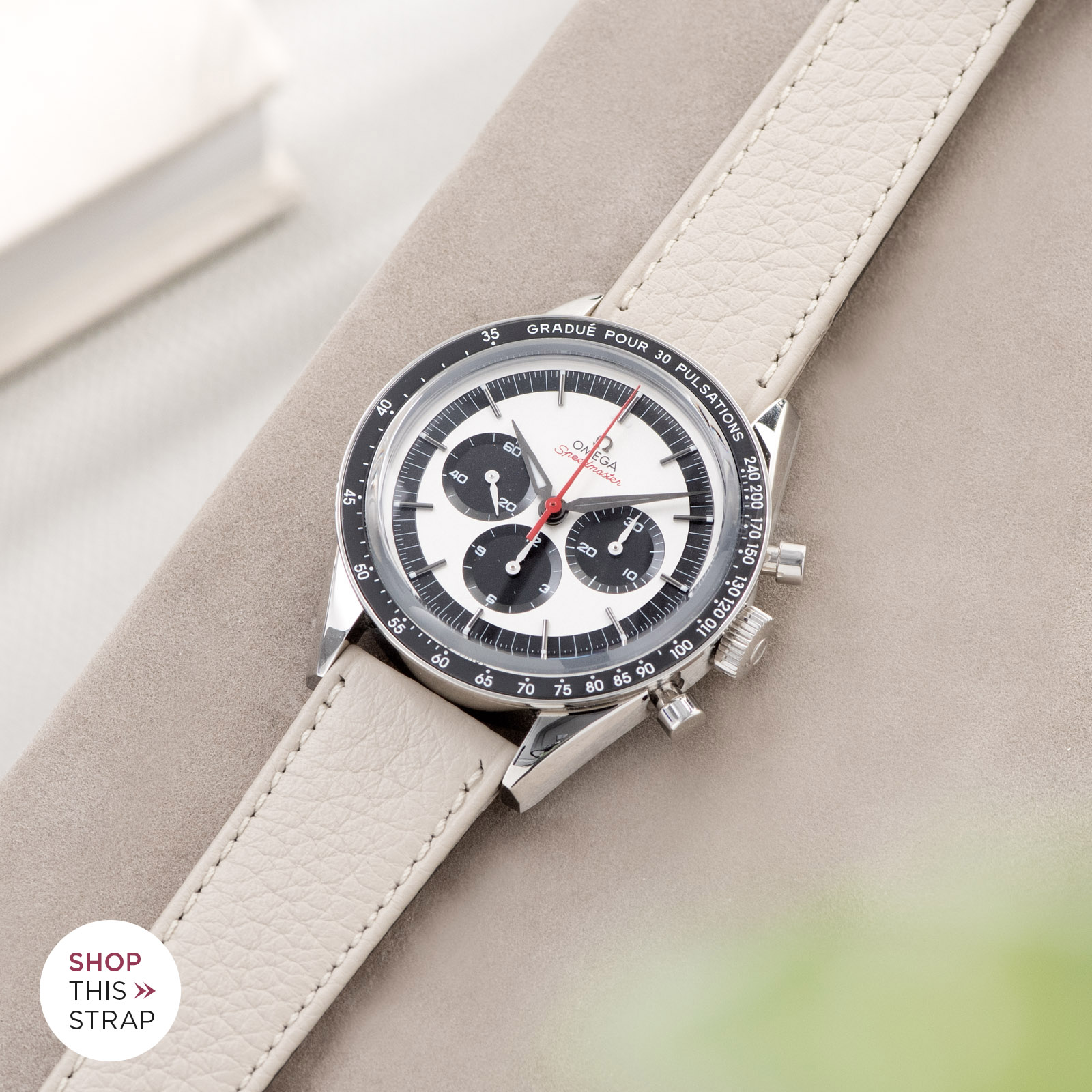 Bulang and Sons_Strap Guide_Omega Speedmaster 2998_Taurillon Creme Speedy Leather Watch Strap