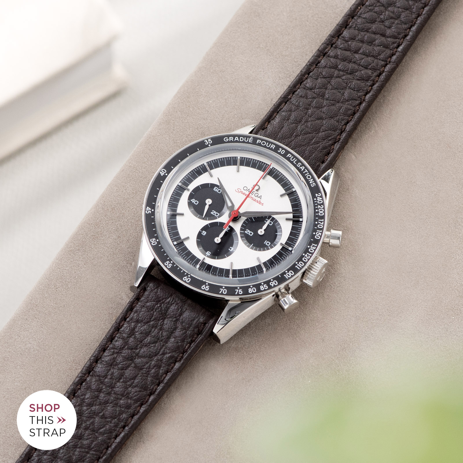 Bulang and Sons_Strap Guide_Omega Speedmaster 2998_Taurillon Dark Brown Speedy Leather Watch Strap
