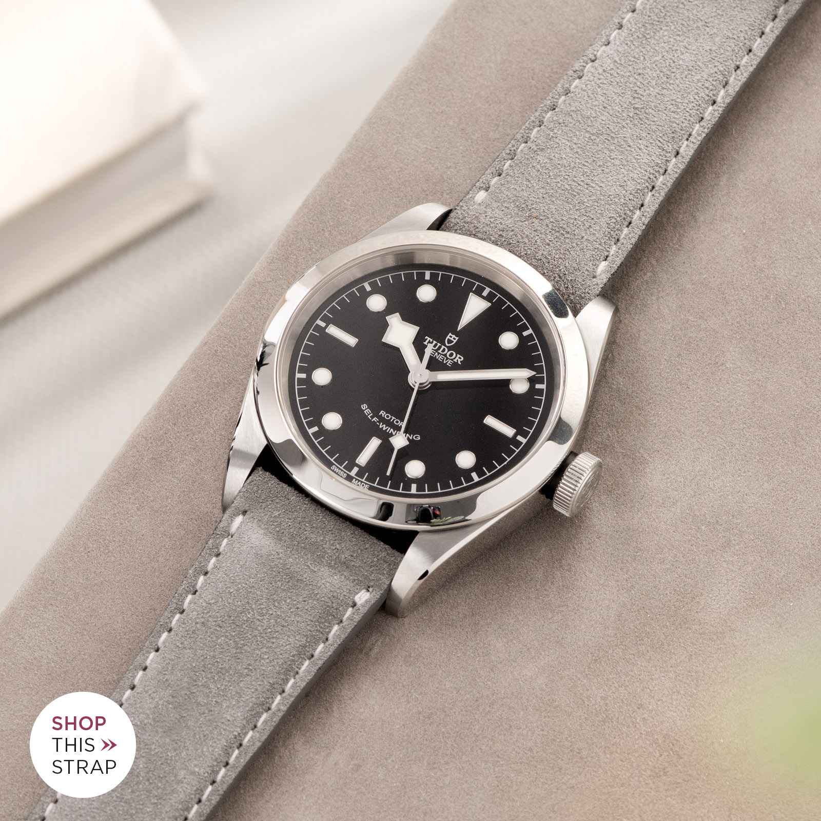 Bulang and Sons_Strap Guide_Tudor Heritage BlackBay 411_Harbor Grey Silky Suede Leather Watch Strap