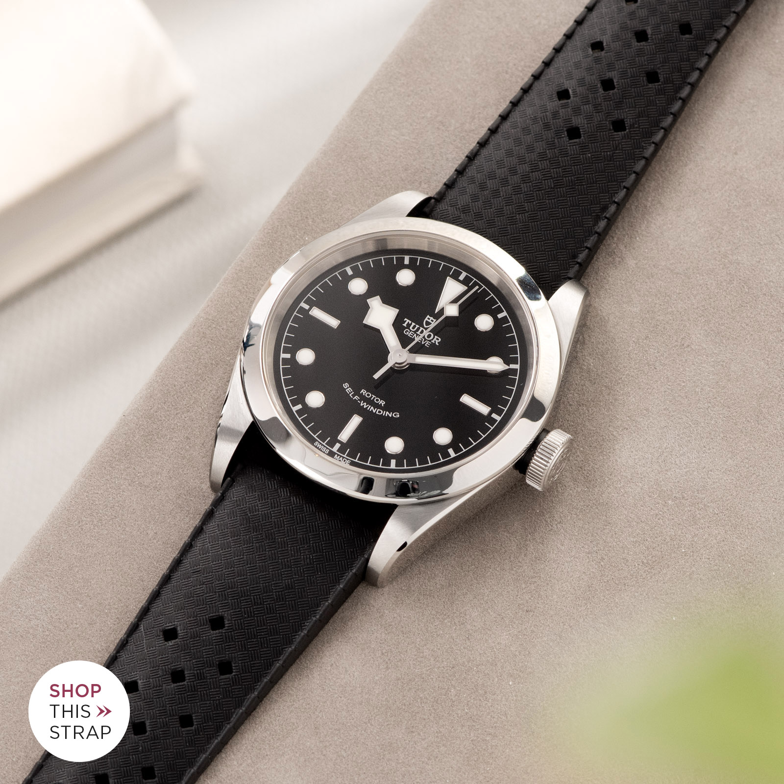 Bulang and Sons_Strap Guide_Tudor Heritage BlackBay 411_Nautic Basket Weave Black Rubber Style Watch Strap