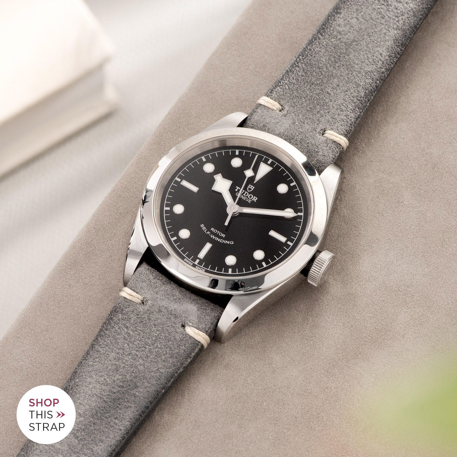 Bulang and Sons_Strap Guide_Tudor Heritage BlackBay 411_Rugged Grey Leather Watch Strap
