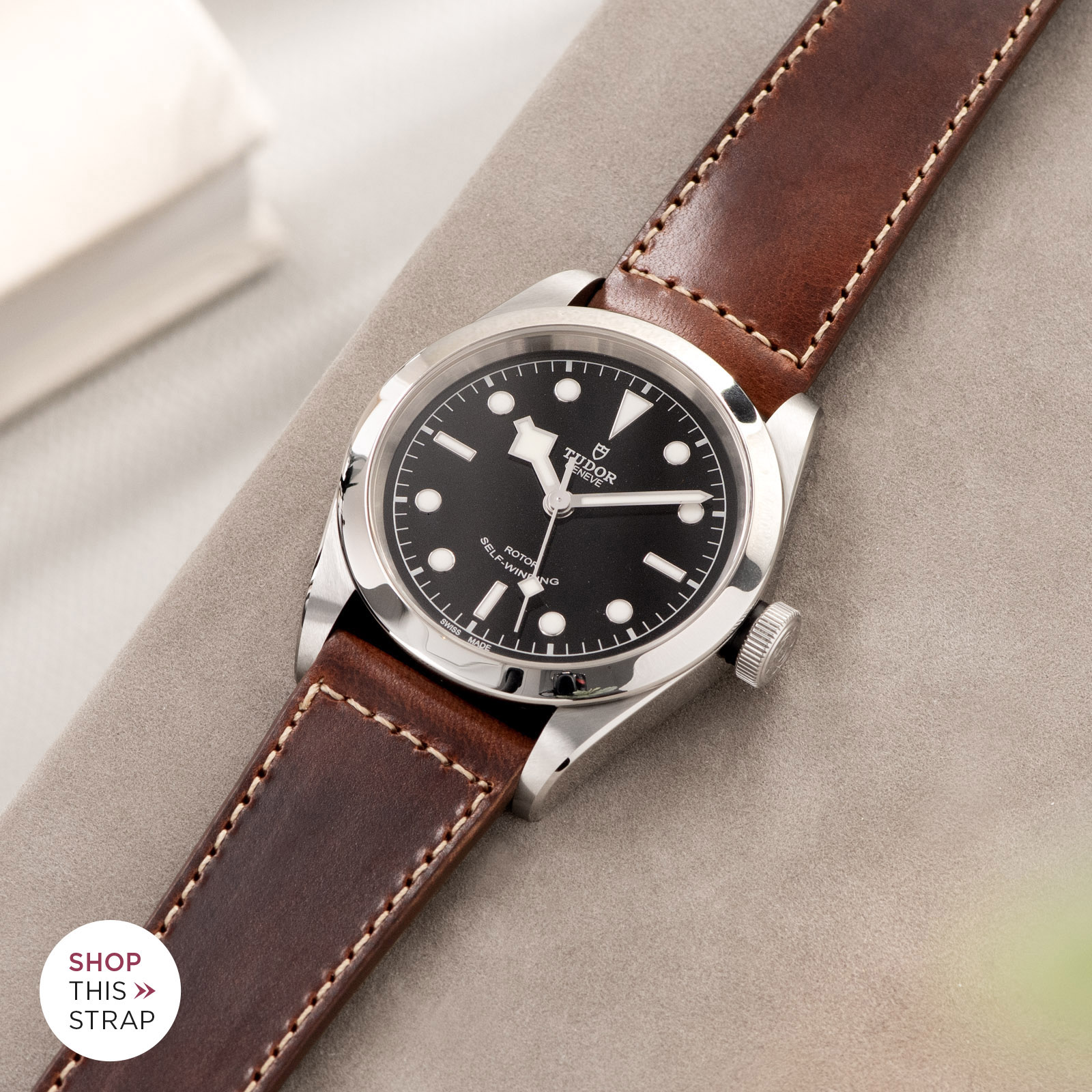 Bulang and Sons_Strap Guide_Tudor Heritage BlackBay 411_Siena Brown Boxed Stitch Leather Watch Strap