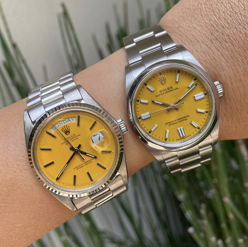 Rolex Oyster Perpetual 36mm Oystersteel 2020 Yellow and Yellowfins Dial Stella Day Date