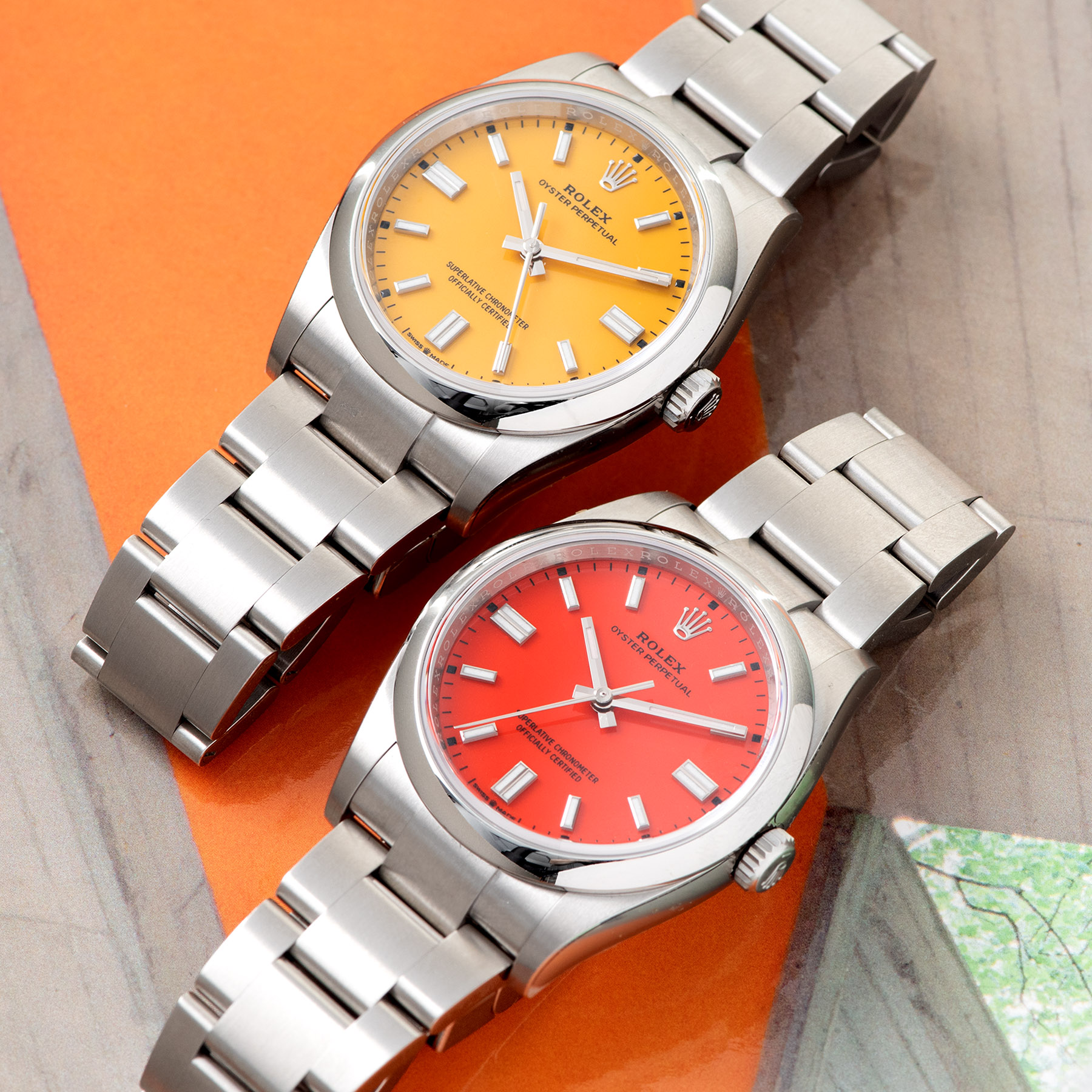Rolex Oyster Perpetual 36mm Oystersteel 2020 Coral Red and Yellow