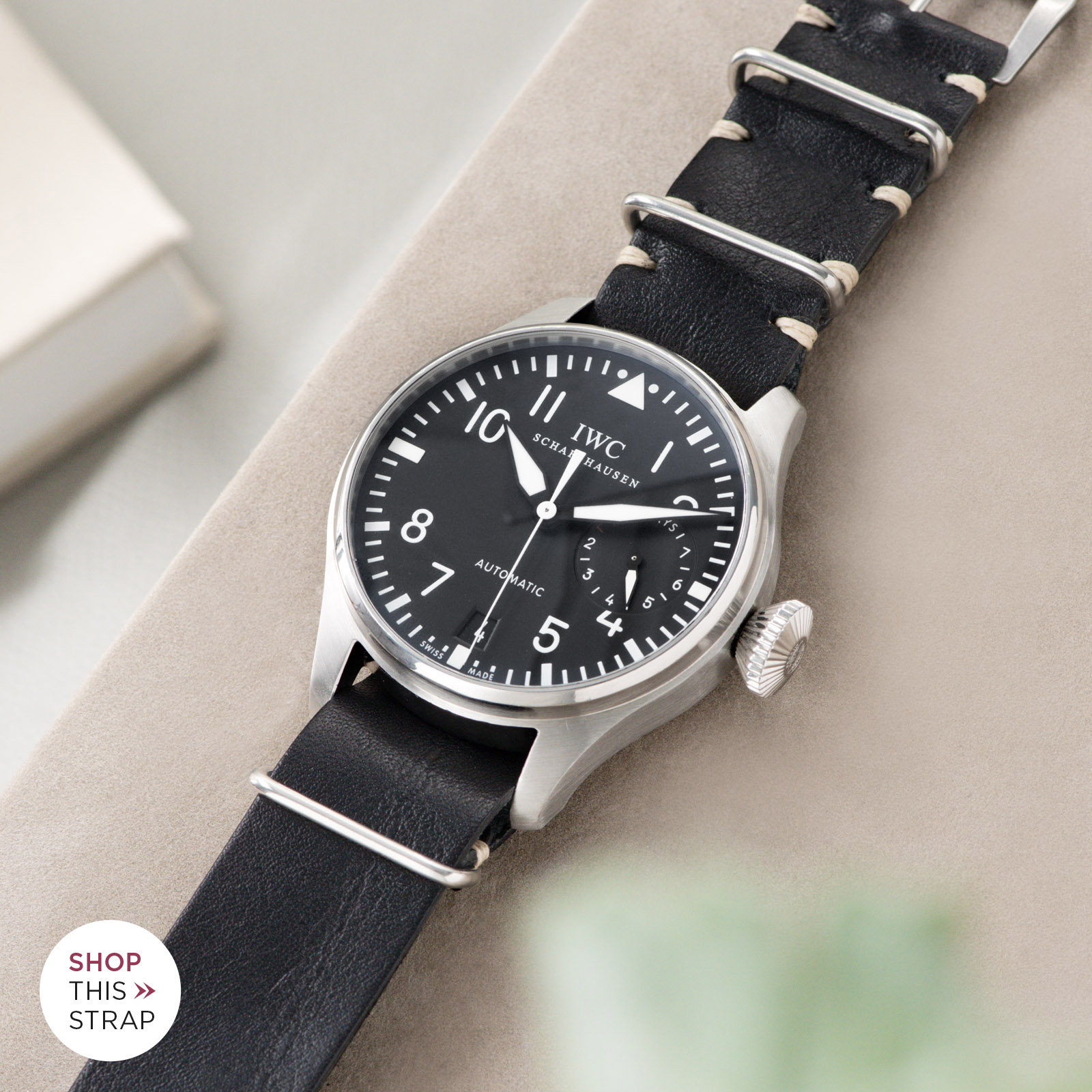 Bulang and Sons_Strap Guide_IWC Big Pilot ref IW5004_Black Nato Leather Watch Strap