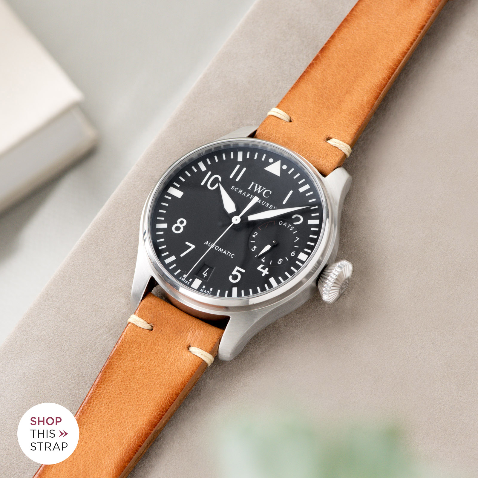 Bulang and Sons_Strap Guide_IWC Big Pilot ref IW5004_Caramel Brown Leather Watch Strap