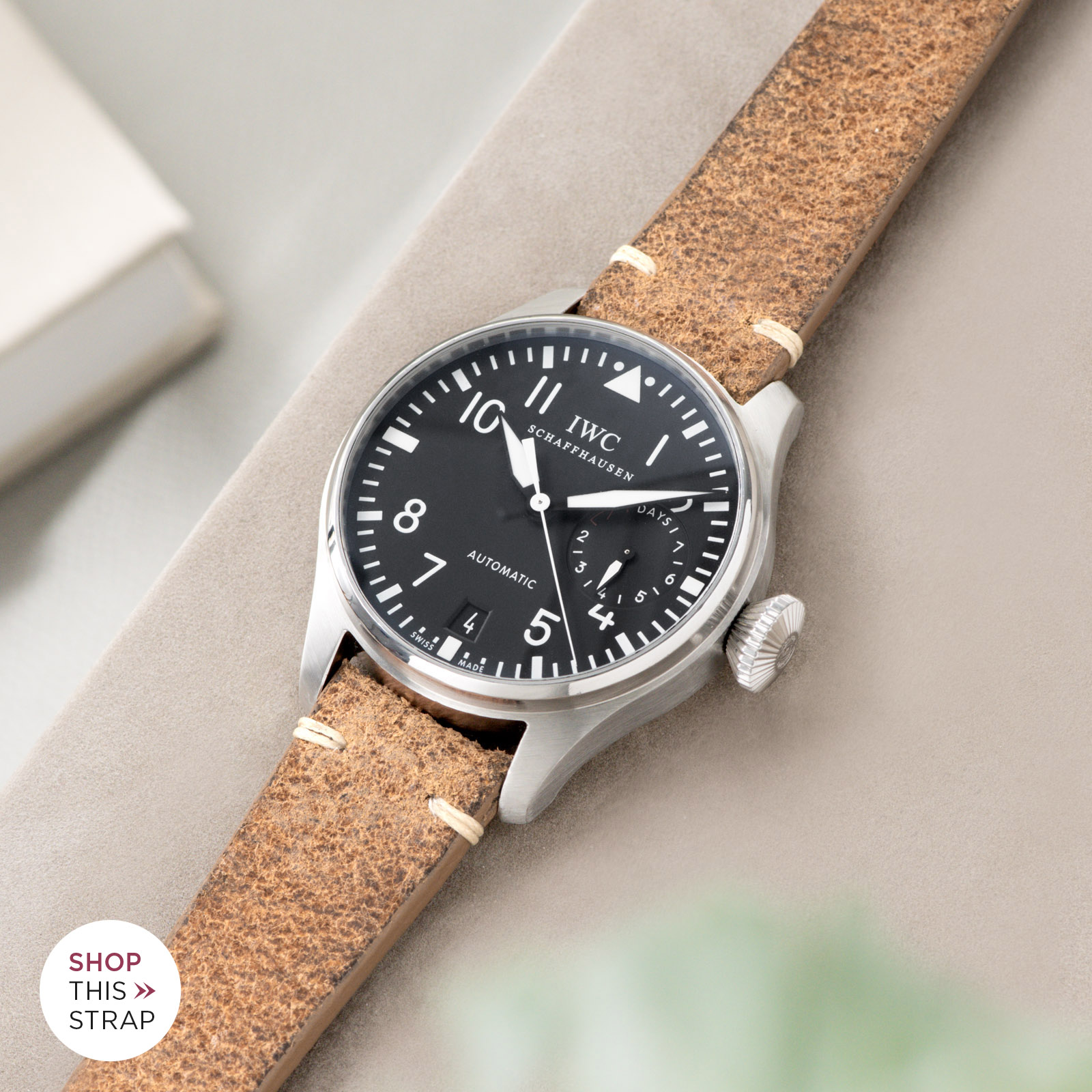 Bulang and Sons_Strap Guide_IWC Big Pilot ref IW5004_Crackle Brown Leather Watch Strap