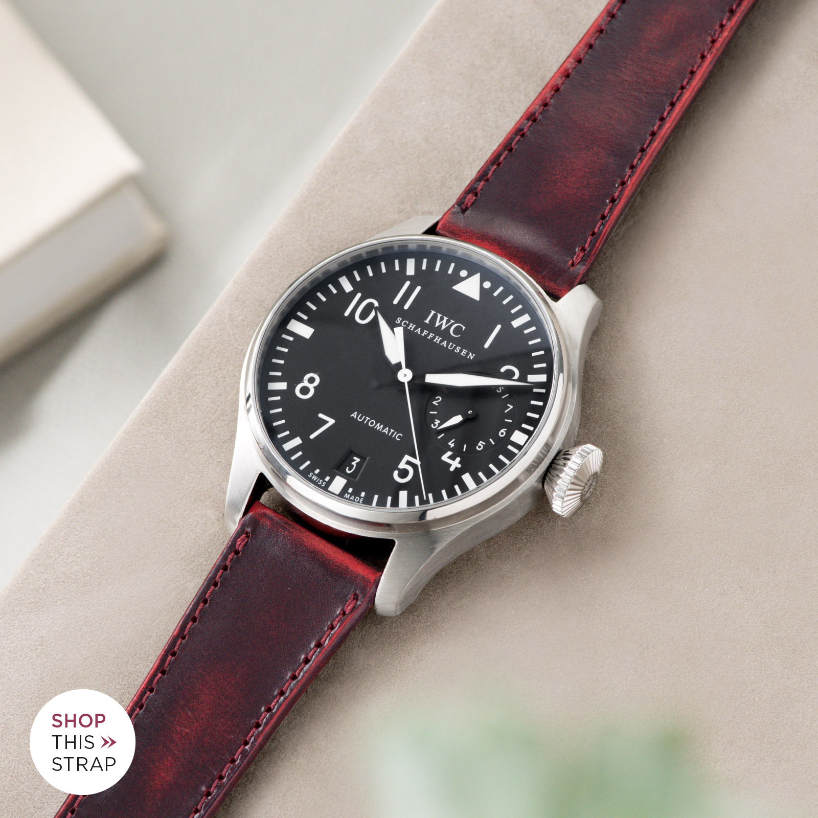 Bulang and Sons_Strap Guide_IWC Big Pilot ref IW5004_Degrade Chili Red Leather Watch Strap