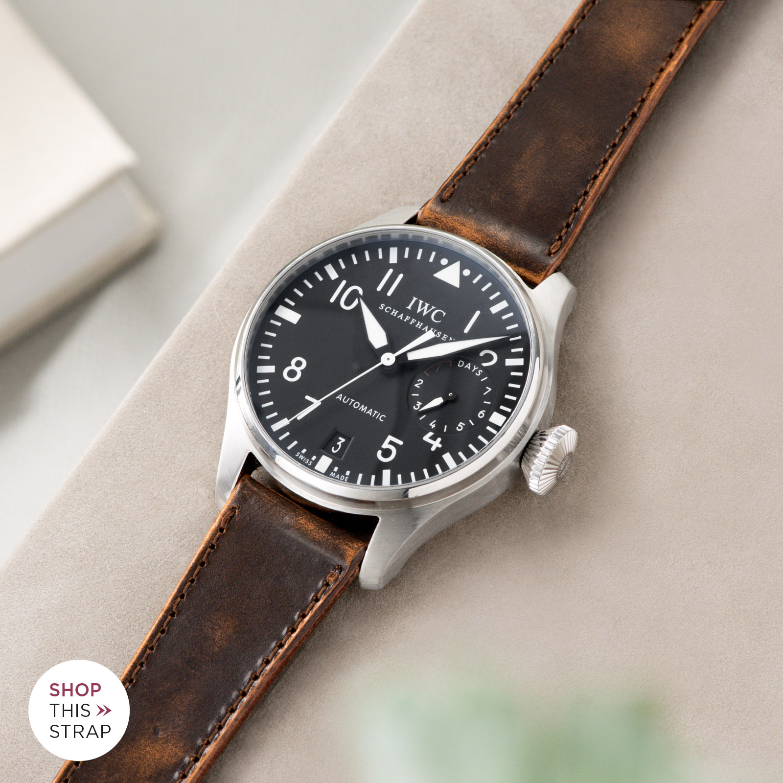 Bulang and Sons_Strap Guide_IWC Big Pilot ref IW5004_Degrade Honey Brown Leather Watch Strap