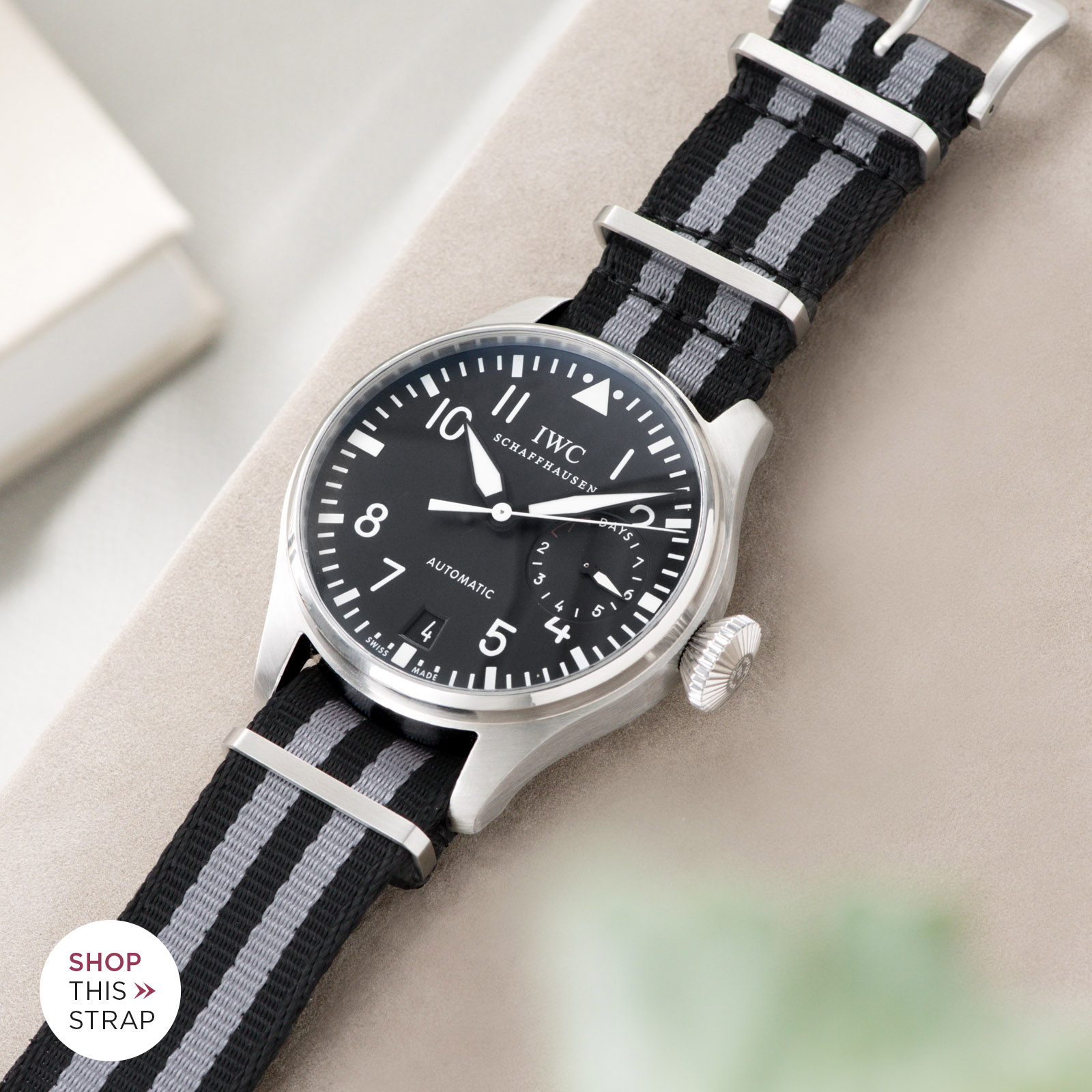Bulang and Sons_Strap Guide_IWC Big Pilot ref IW5004_Deluxe Nylon Nato Watch Strap Black Two Stripes