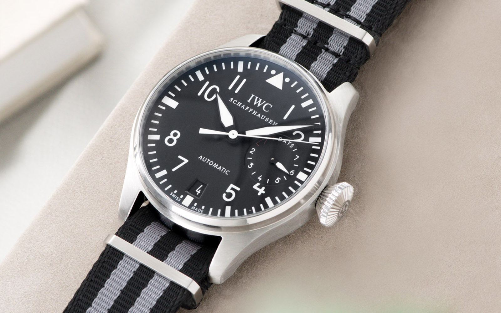 Bulang and Sons_Strap Guide_IWC Big Pilot ref IW5004_Deluxe Nylon Nato Watch Strap Black Two Stripes_Banner