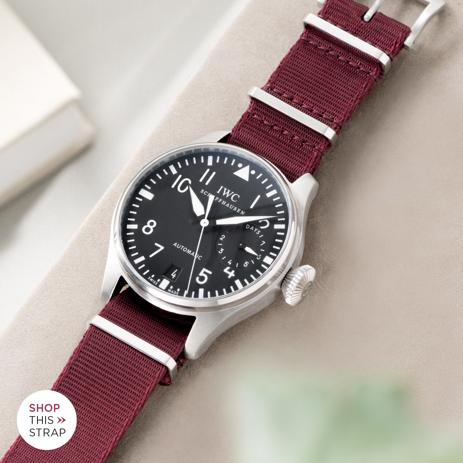 Bulang and Sons_Strap Guide_IWC Big Pilot ref IW5004_Deluxe Nylon Nato Watch Strap Burgundy Red