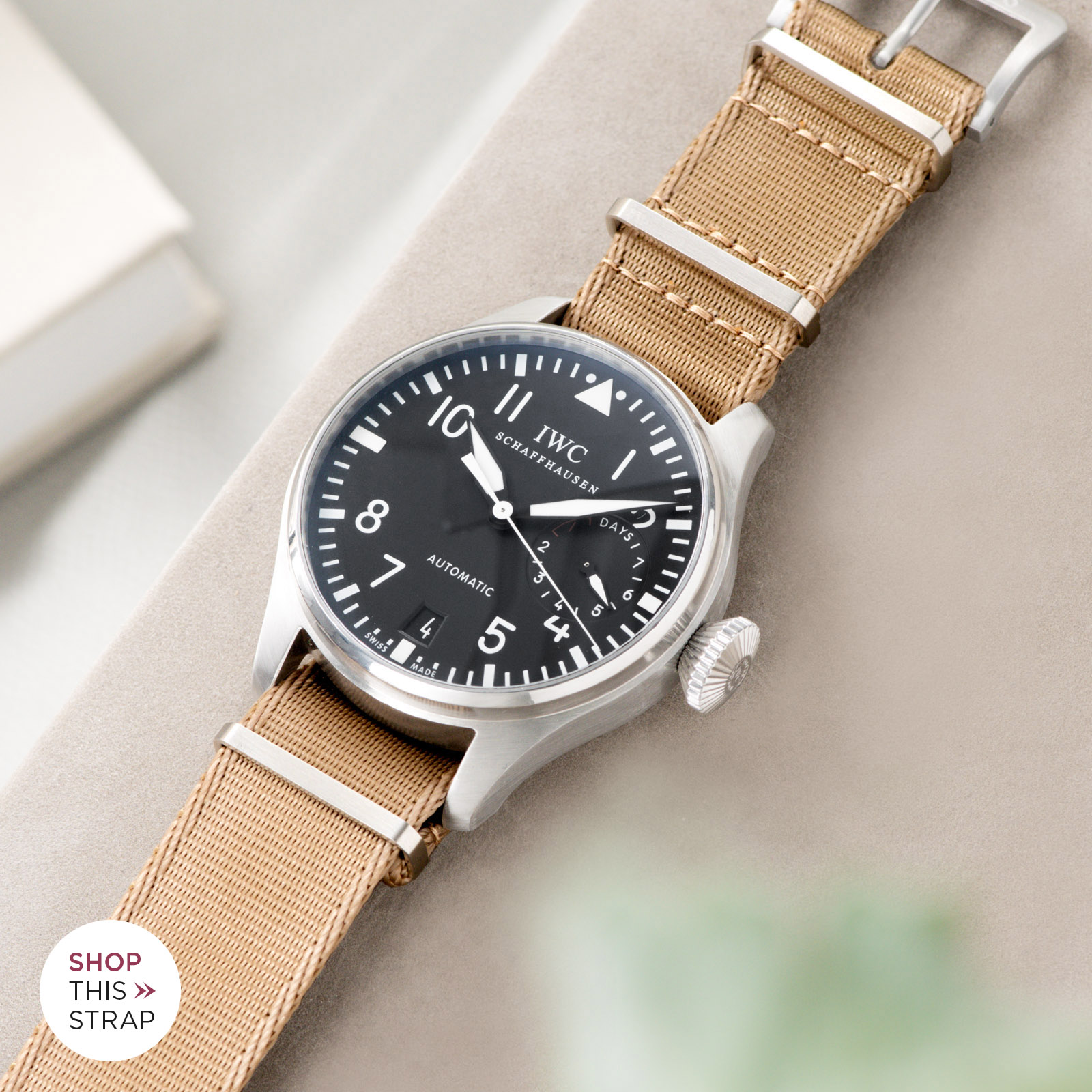 Bulang and Sons_Strap Guide_IWC Big Pilot ref IW5004_Deluxe Nylon Nato Watch Strap Coyote Brown