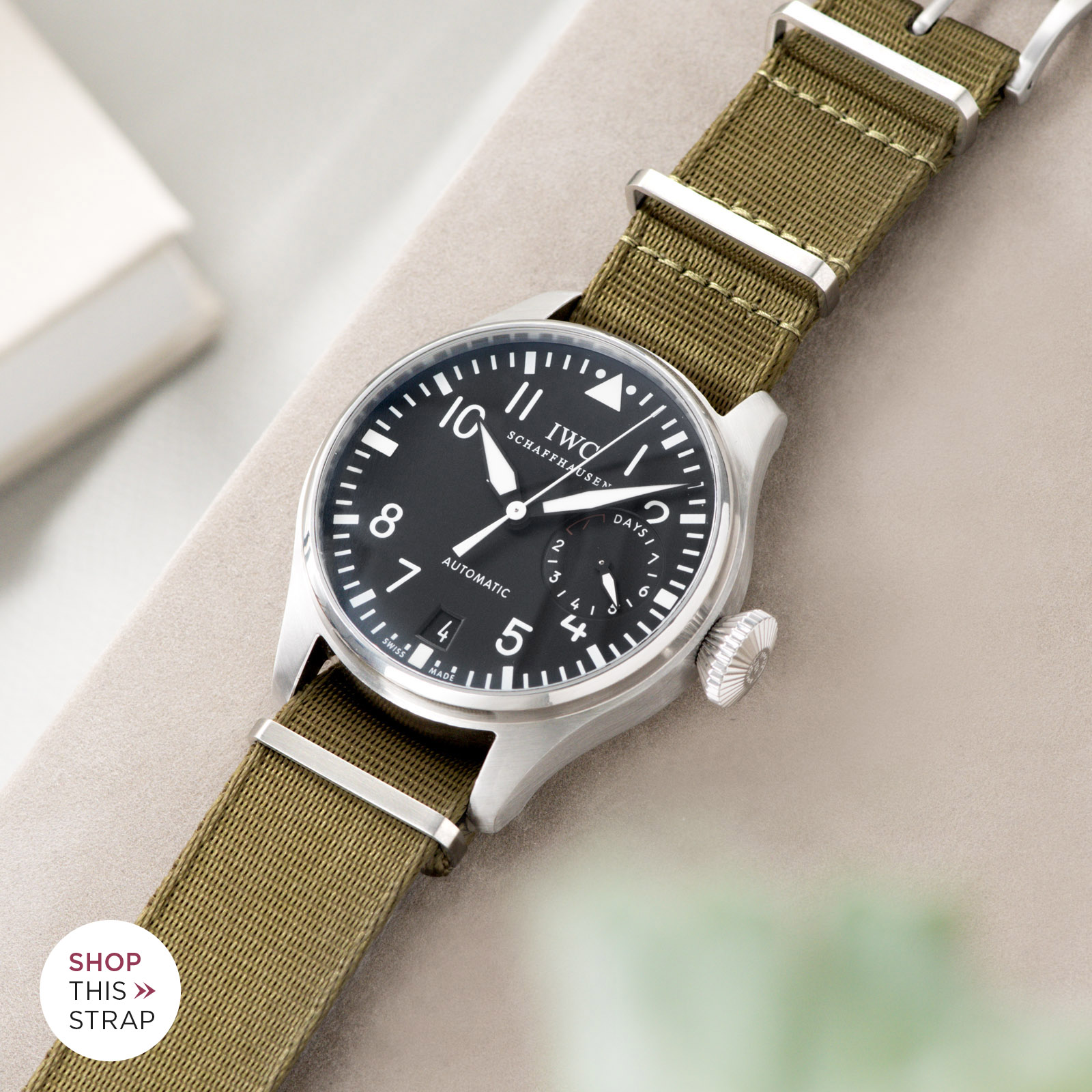 Bulang and Sons_Strap Guide_IWC Big Pilot ref IW5004_Deluxe Nylon Nato Watch Strap Olive Drab Green