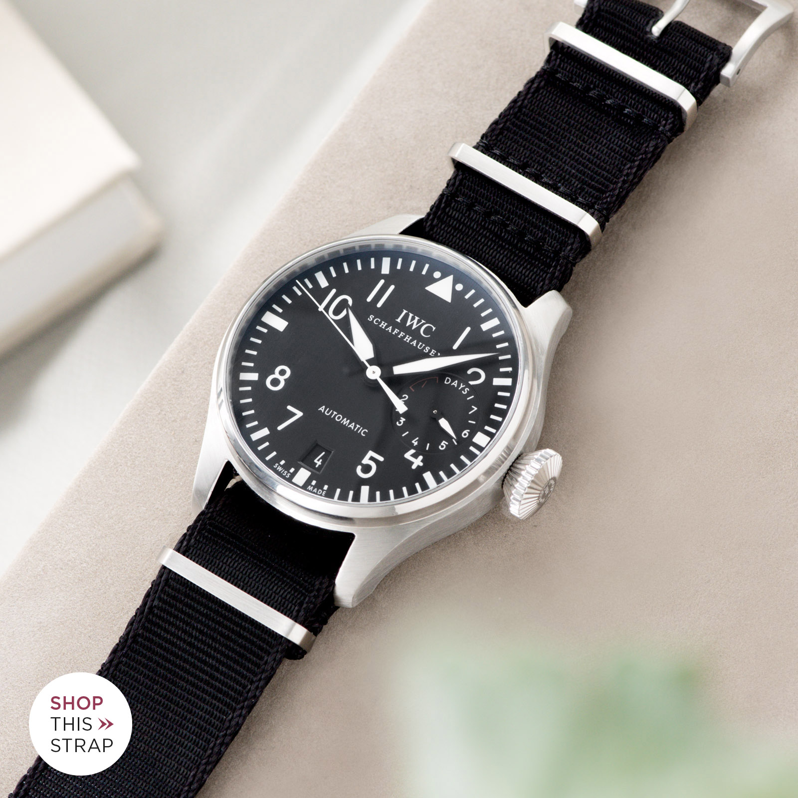 Bulang and Sons_Strap Guide_IWC Big Pilot ref IW5004_Deluxe Nylon Nato Watch Strap Pure Black