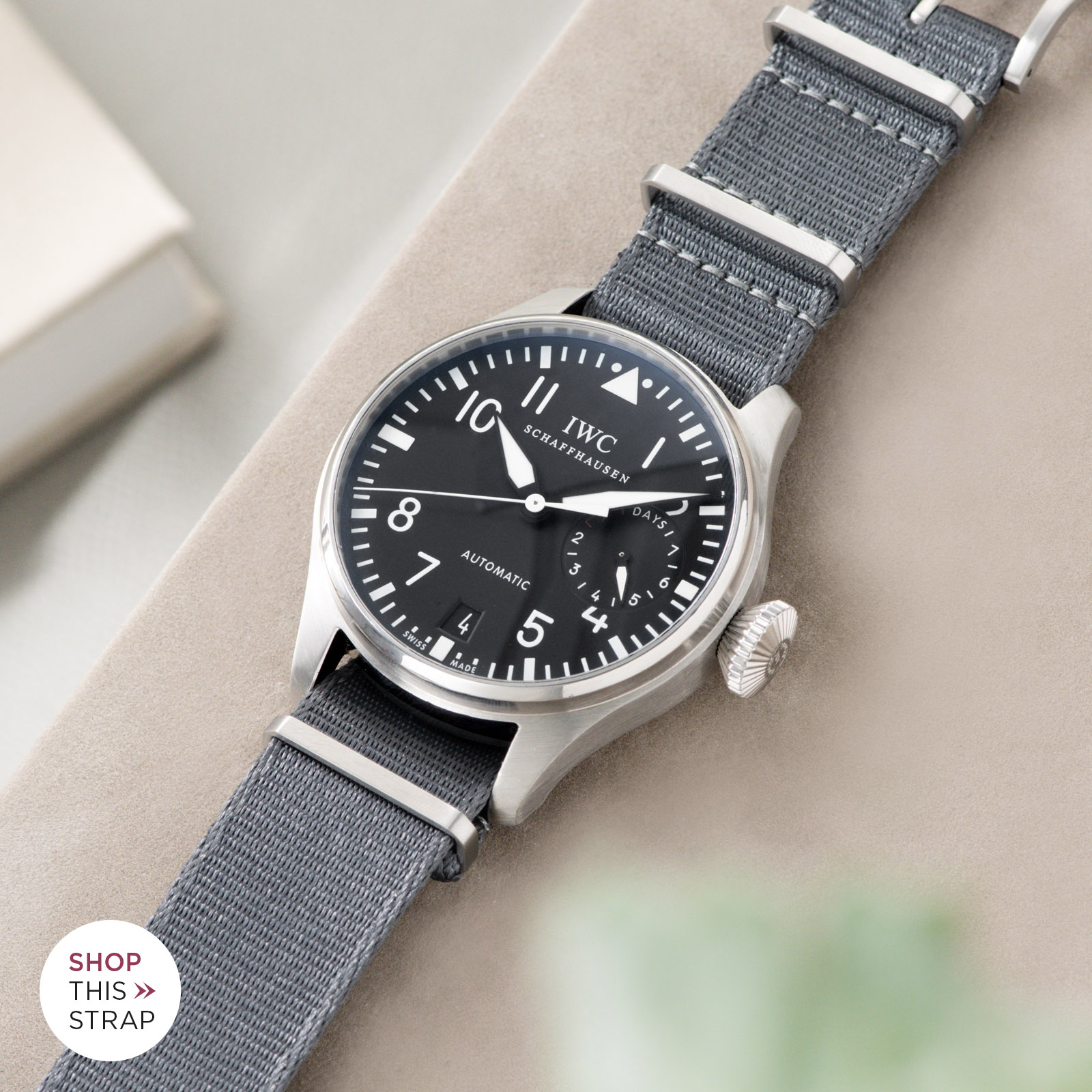 Bulang and Sons_Strap Guide_IWC Big Pilot ref IW5004_Deluxe Nylon Nato Watch Strap Pure Grey