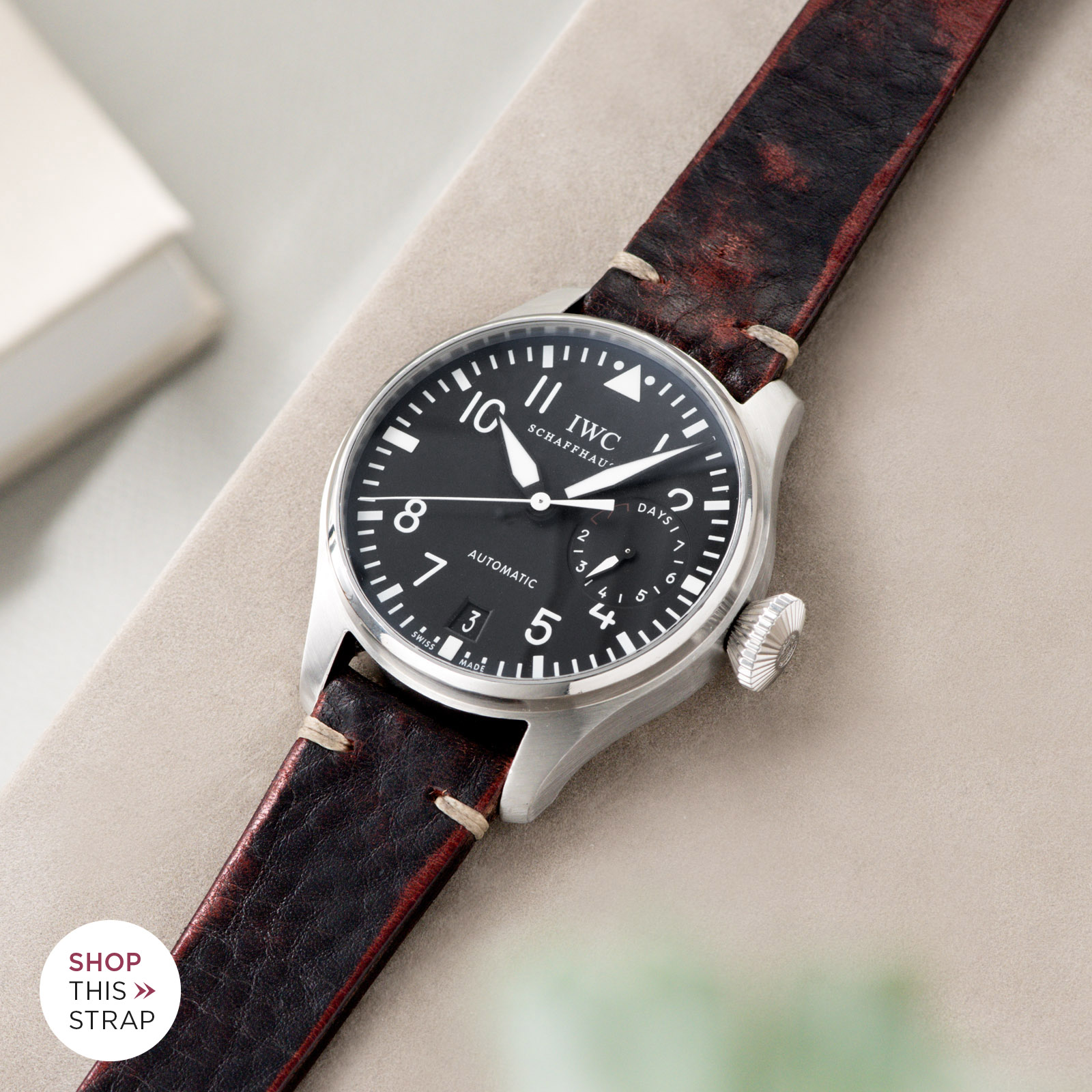 Bulang and Sons_Strap Guide_IWC Big Pilot ref IW5004_Diablo Black Leather Watch Strap