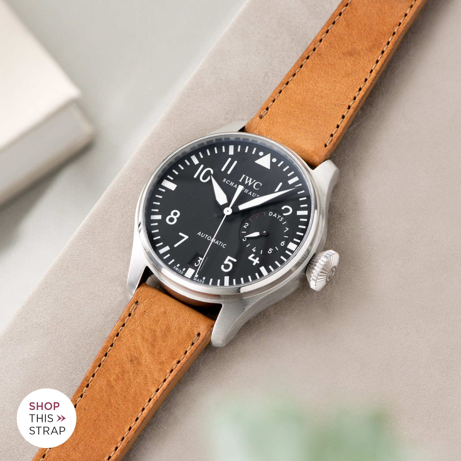 Bulang and Sons_Strap Guide_IWC Big Pilot ref IW5004_Gilt Brown Tonal Leather Watch Strap