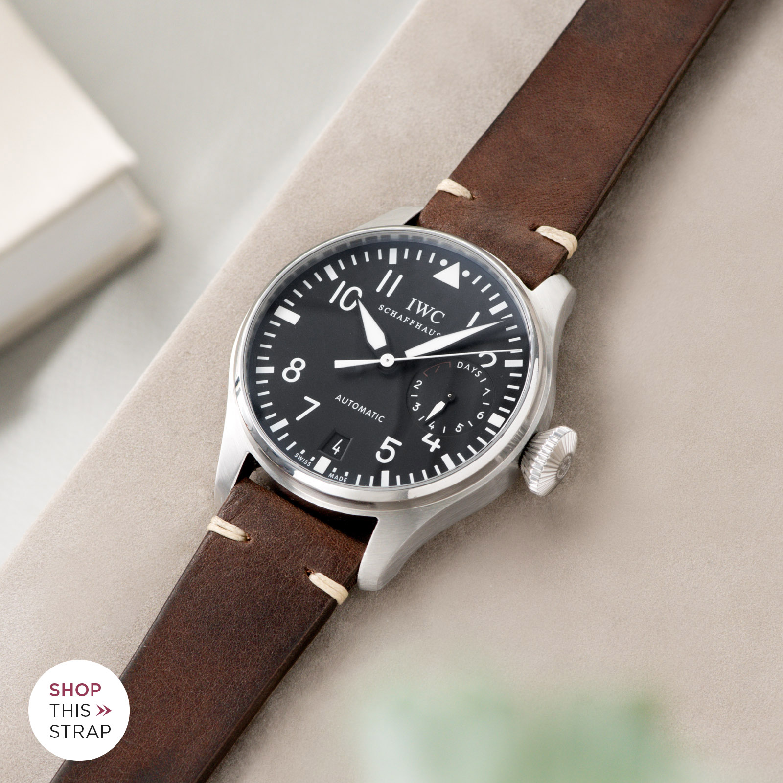 Bulang and Sons_Strap Guide_IWC Big Pilot ref IW5004_Lumberjack Brown Leather Watch Strap
