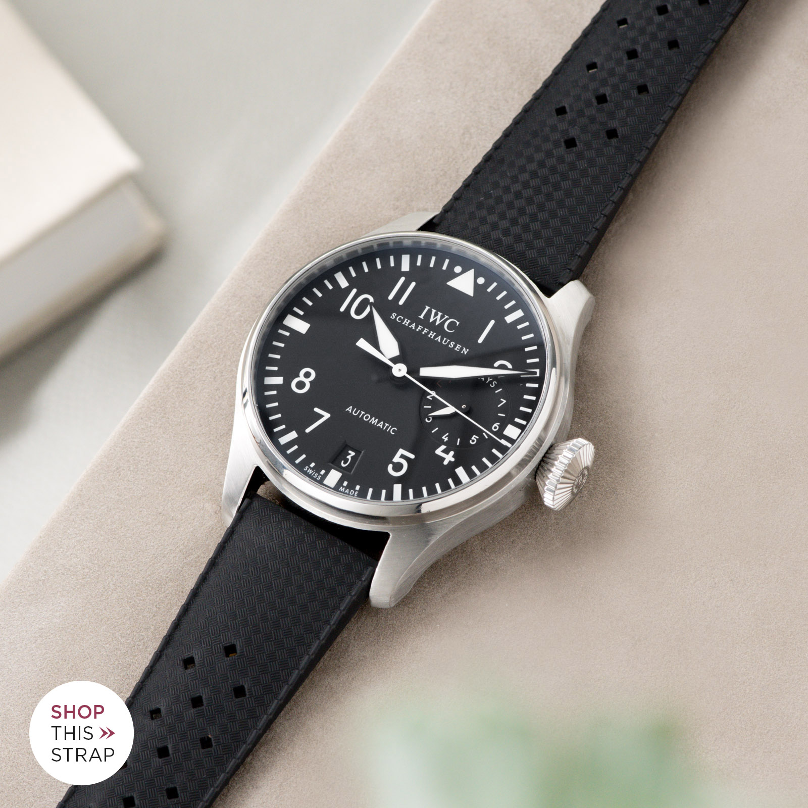 Bulang and Sons_Strap Guide_IWC Big Pilot ref IW5004_Nautic Basket Weave Black Rubber Style Watch Strap