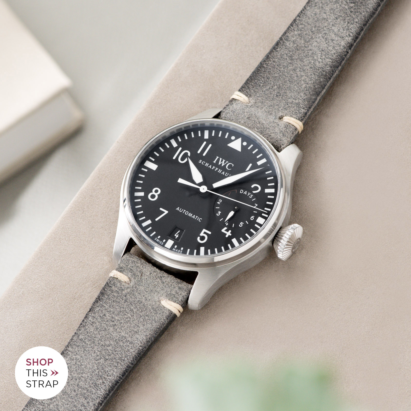 Bulang and Sons_Strap Guide_IWC Big Pilot ref IW5004_Rugged Grey Leather Watch Strap
