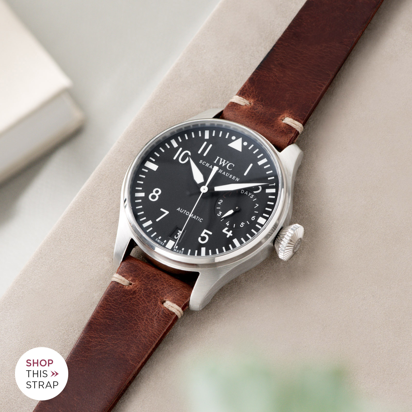 Bulang and Sons_Strap Guide_IWC Big Pilot ref IW5004_Siena Brown Leather Watch Strap