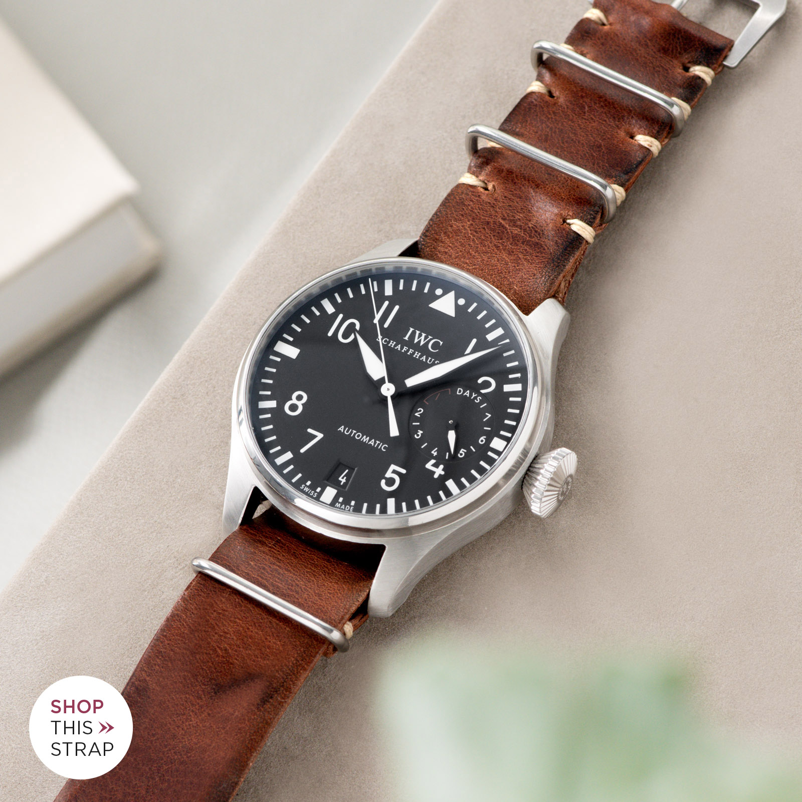 Bulang and Sons_Strap Guide_IWC Big Pilot ref IW5004_Siena Brown Nato Leather Watch Strap
