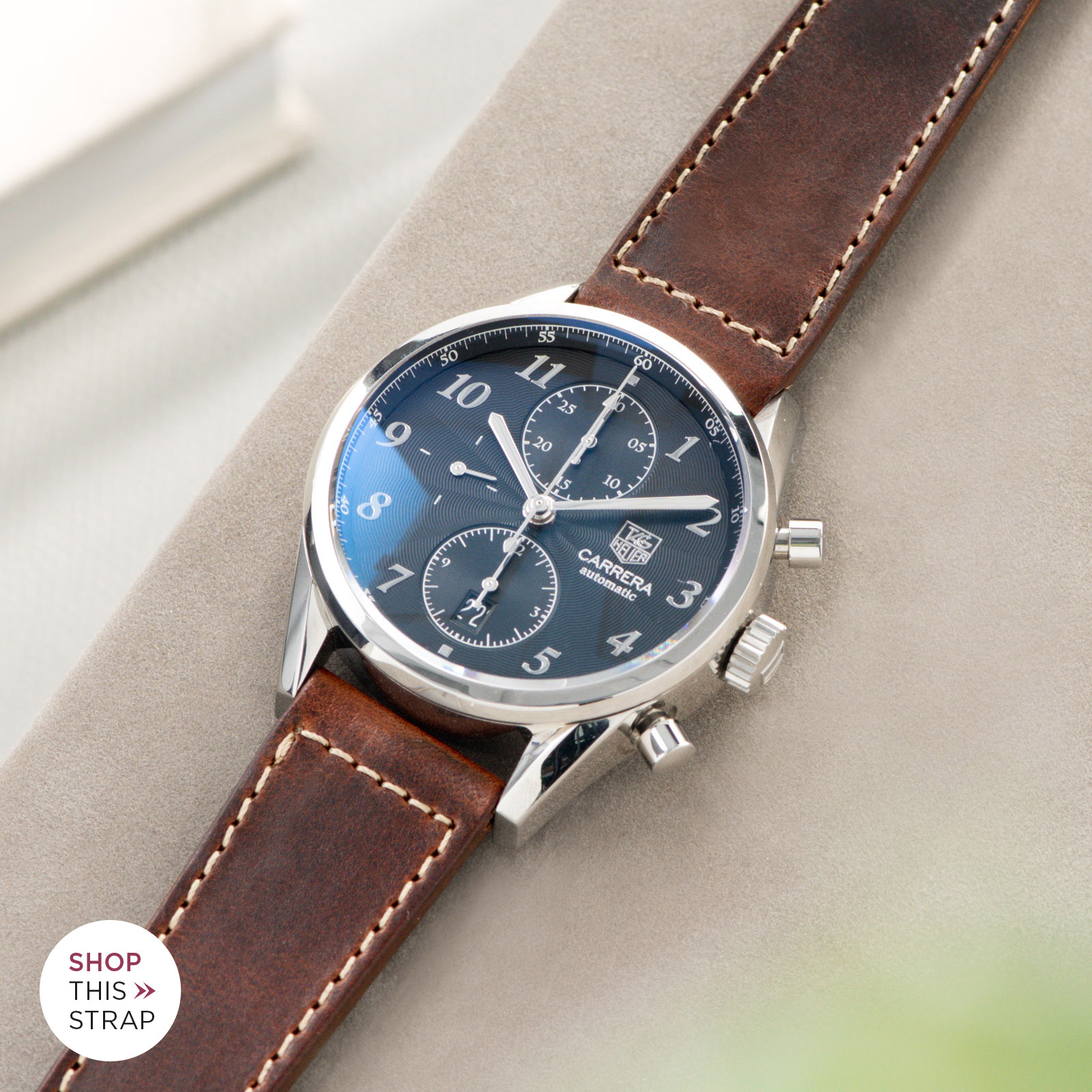 Bulang and Sons_Strap guide_Heuer Carrera Automatic_Siena Brown Boxed Stitch Leather Watch Strap